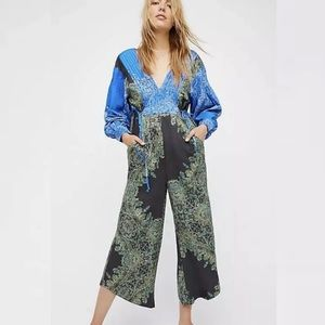 FREE PEOPLE Blooming Fields Jumpsuit L Paisley New